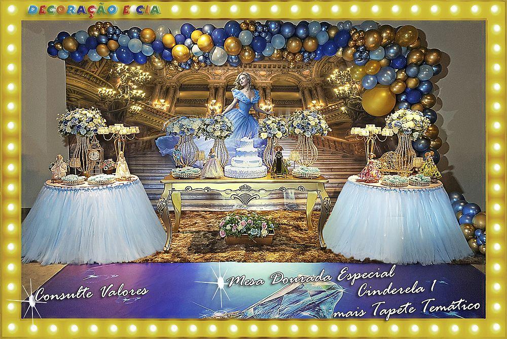 ..MESA DOURADA ESPECIAL c/ TULE Cinderela 1